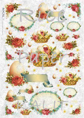 Papier ryżowy Kalit do decoupage pas_0013 Wielkanoc i róże Wielkanoc - sklep DecoupageArt.pl