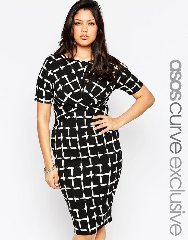 hmmmm....not exactly sure what is going on in the boob area here, and whether it would affect this dress's ability to be work-appropriate // ASOS CURVE Dress In Grid Print