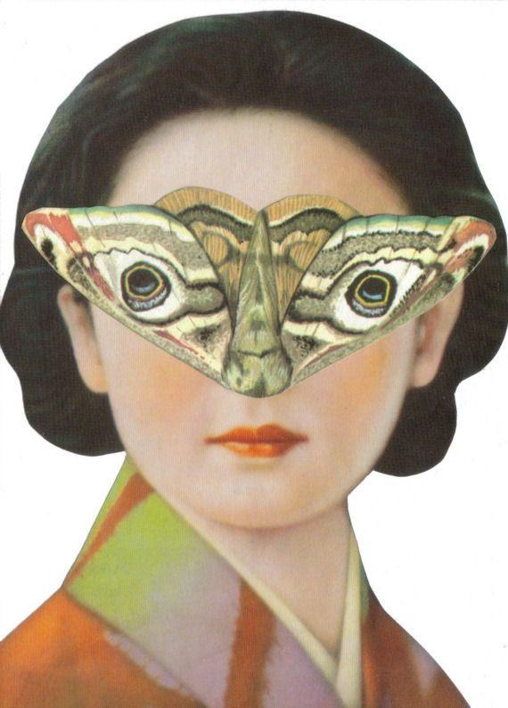 Surrealism Original Collage Surrealist Art Moth Woman Face Surreal Strange Art. $35.00, via Etsy.