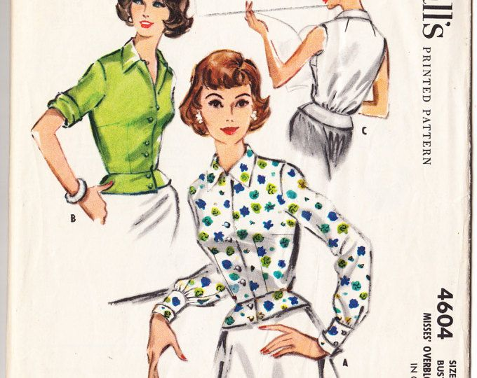 Vintage 1958 McCall's 4604 UNCUT Sewing Pattern Misses' Overblouse Size 14 Bust 34