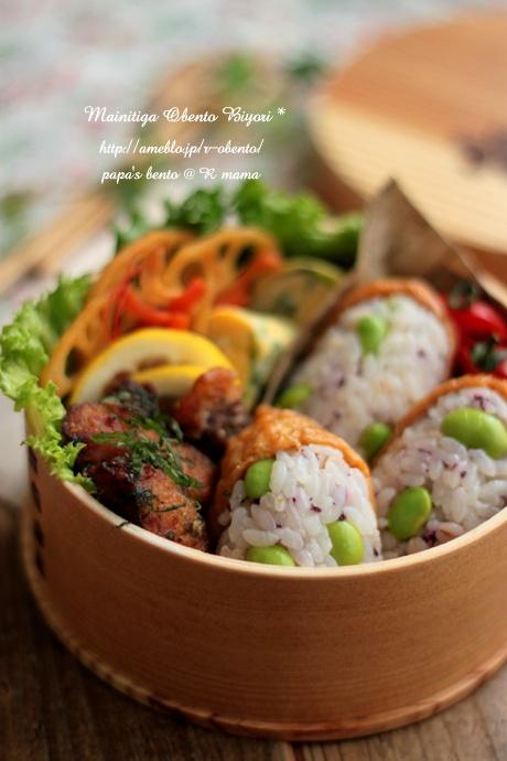 稲荷寿司と鰹の竜田揚げ弁当~ママのお弁当~の画像 | 毎日がお弁当日和♪