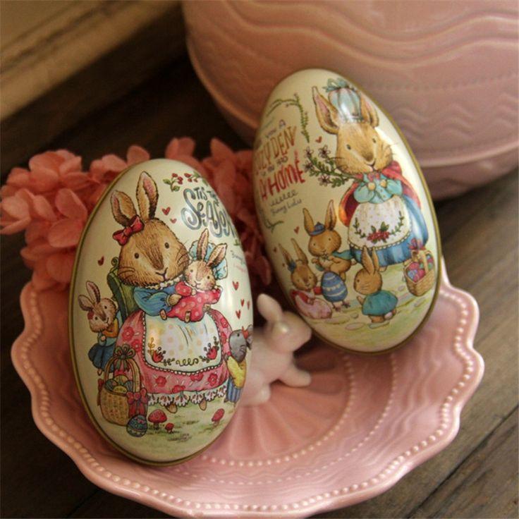 Новый 2 шт. День Пасхальные Яйца Творческая Свадебный Подарок Жестяной Коробке розовый и Голубой Кролик Питер Мода Свадебные Поставки Упаковки Конфет коробка купить на AliExpress