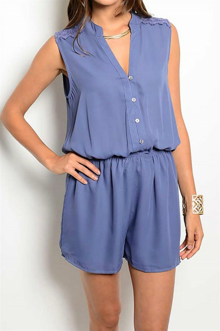 Beautiful smoky blue romper featuring flattering elastic waist and lace back detail. Pair with wedges and a cuff bracelet.   Lace Back Romper by Pretty Little Things. Clothing - Jumpsuits & Rompers - Rompers New Hampshire