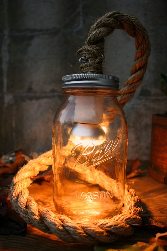 Mason Jar Lighting Desk Lamp or Night Light - Vintage Industrial Rope Design