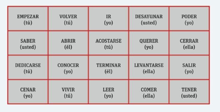 Juego: Las tres en raya (Libro ELE página 128). La clase se divide en dos equipos y cada equipo debe decir una oración con el verbo conjugado en la persona correspondiente. Si la oración es correcta el equipo escribe su nombre en la casilla. Gana quien obtiene tres casillas seguidas.