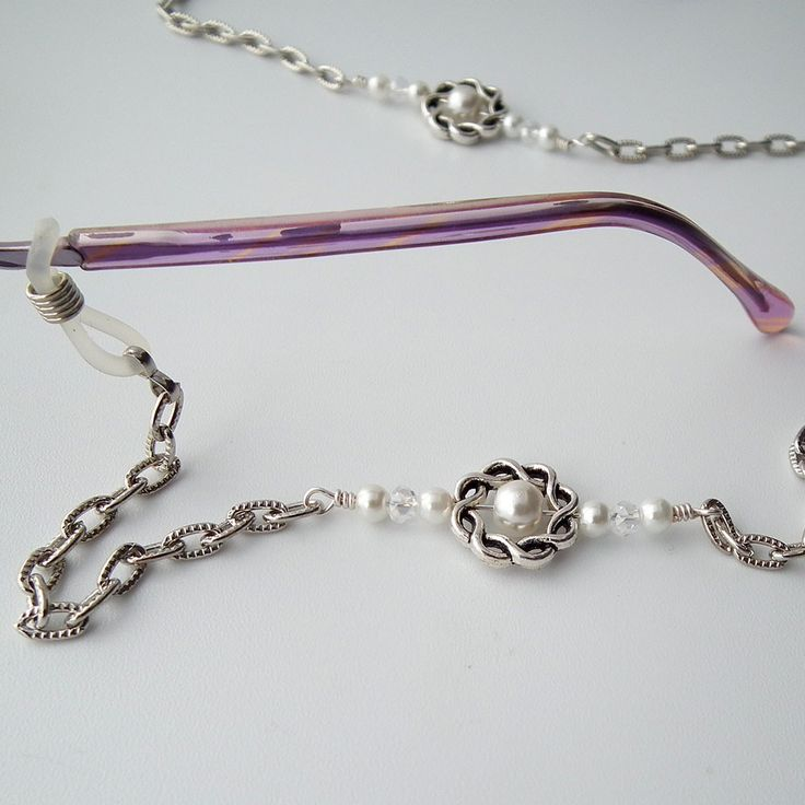Silver with Pearls Eyeglass Chain