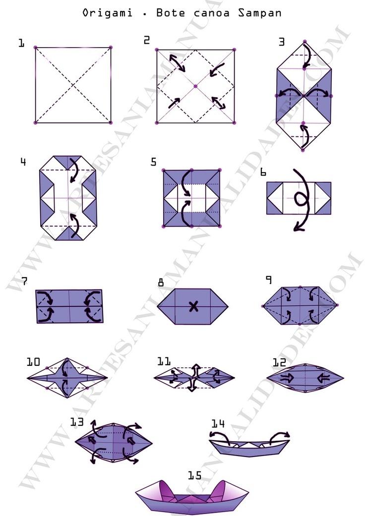 origami canoa bote sampan paper craft artesania
