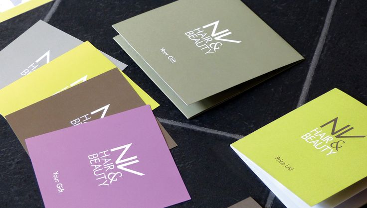 NV Hair & Beauty, Business Stationery, Litho Print, Pantone Ink. By Leaff Design, Worcester UK.