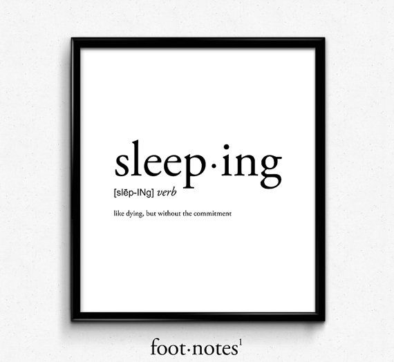 Sleeping definition, college dorm girl, dictionary art, minimalist poster, funny definition print, d