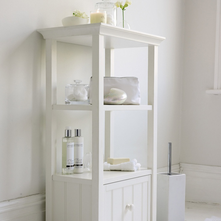 The White Company. Floor-space-efficient, triple-shelf unit with a deep drawer. The shelves are ideal for stacking fresh towels and the drawer for storing spare bathroom supplies out of sight. White painted finish. £175.00