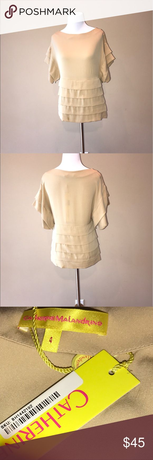 Catherine Malandrino silk blouse size 4 NWT Catherine Malandrino tiered silk champagne blouse NWT. Cap sleeve. Bust 32 inches. Length 23.5 inches. 100%silk. No trades but offers are welcome. Catherine Malandrino Tops Blouses