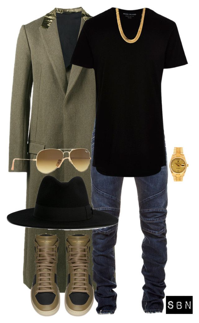 """""""Him."""" by styledbynineaux ❤ liked on Polyvore featuring Haider Ackermann, Balmain, River Island, King Ice, Yves Saint Laurent, Rolex, Ray-Ban, men's fashion and menswear"""