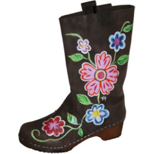 Hand Painted Brown Oil Boot