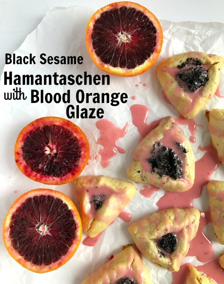 Black Sesame Hamantaschen with Blood Orange Glaze