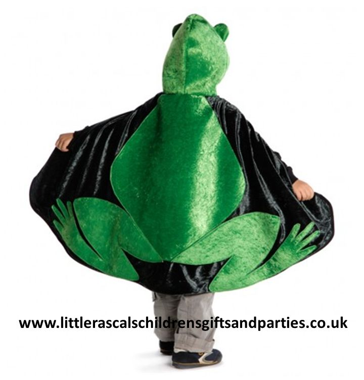 Every little girl dreams that one day she will be able to kiss a frog and he will turn into her Prince Charming.  Well guess what.....turn this gorgeous frog cape over and you will turn into a handsome Prince!  £30.00 http://www.littlerascalschildrensgiftsandparties.co.uk/#!knights-and-dragon-fancy-dress-costumes/c1tyt