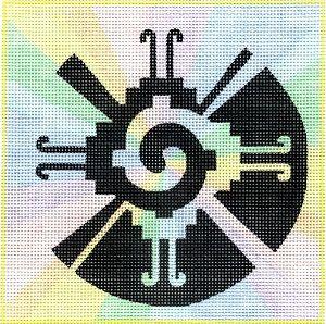 "Spiritual needlepoint - Hunab Ku, hand-painted, 7"" x 7"" on 13 mesh canvas, Made in Sedona, Arizona"