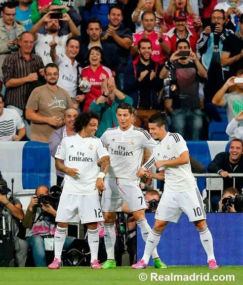 Real Madrid goal celebration dance. Marcello, Cristiano Ronaldo, and James Rodriguez