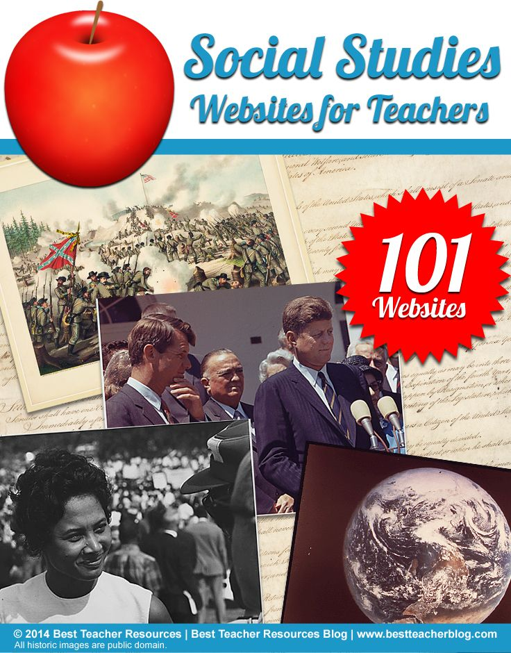 FREE - 101 Social Studies websites for teachers including  MissionUS, iCivics, QuickMaps and more! http://bestteacherblog.com/101-social-studies-websites-teachers/