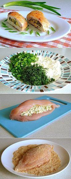 Как приготовить куриное филе с творогом и зеленью - рецепт, ингридиенты и фотографии