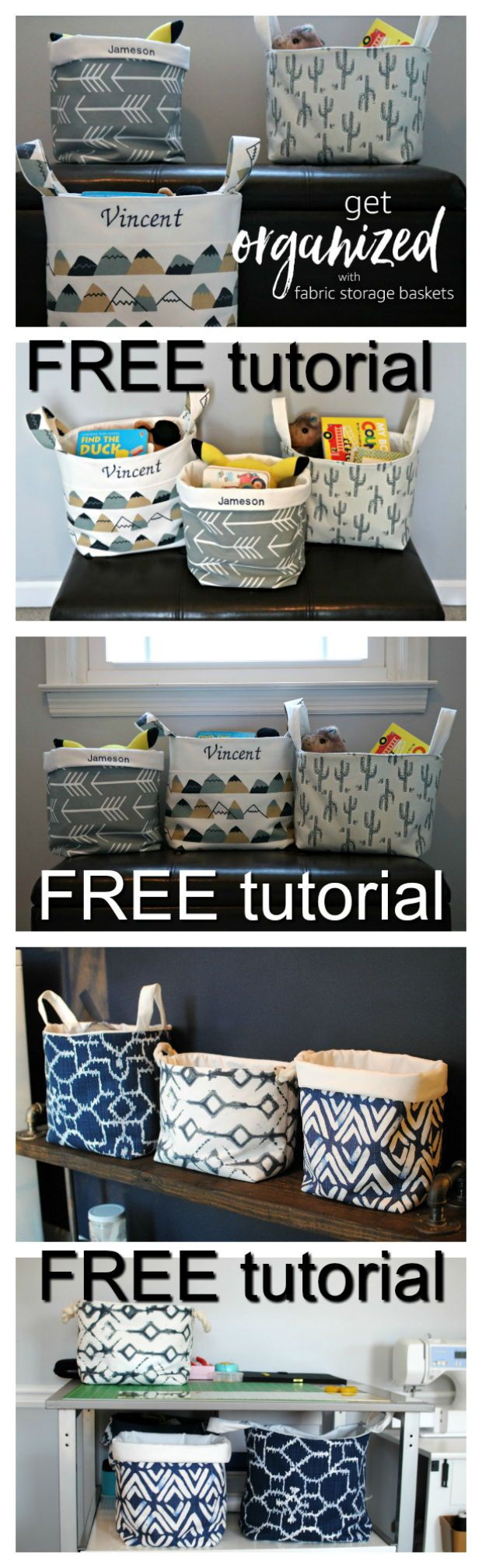 These DIY fabric baskets are a quick and easy way to tidy up those tricky rooms in the house where there always seems to be disarray. Here's an easy to follow FREE tutorial on how to make them.