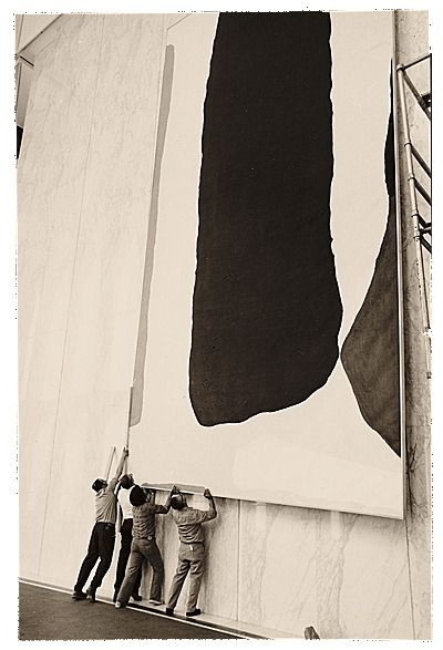 """apeninacoquinete: """" How many men does it take to hang a painting by Helen Frankenthaler? A crew installing Helen Frankenthaler's painting Guiding Red, 1977 / Andre Emmerich """""""