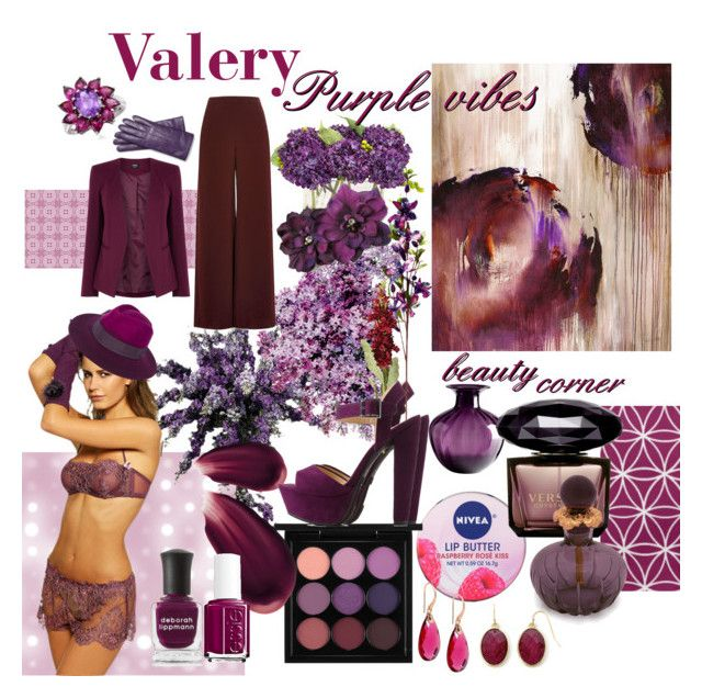 """Valery Purple Vibes"" by stefania-desdemona-rubini on Polyvore featuring moda, Nearly Natural, Nivea, Charlotte Russe, John-Richard, MAC Cosmetics, Deborah Lippmann, Hourglass Cosmetics, Cyan Design e OKA"