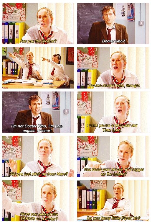 Scene from The Catherine Tate Show with David Tennant as guest star.  This will never not be funny.