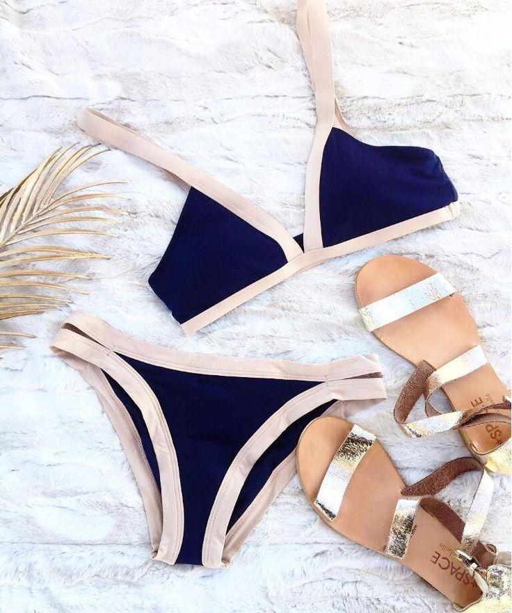 Simple Blue & Beige Padded Bikini Set