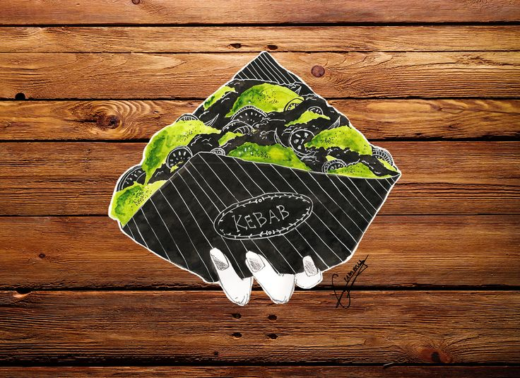 #illustration #logo #kebab #draw #graphic #design #designers #hand #wood #food #gummy #salands #healthy #black #brand