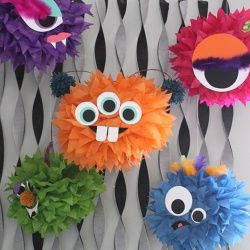 Turn your Halloween party into a monster mash with these fun and easy-to-make tissue pom-poms.