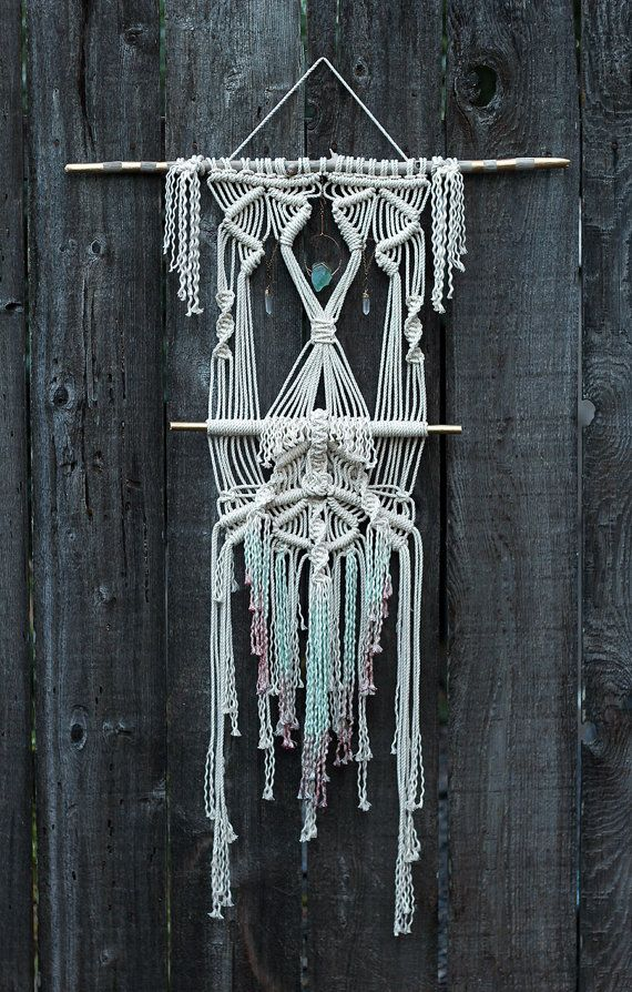 Dip Dyed Macramé Wall Hanging on Drift Wood with Crystals