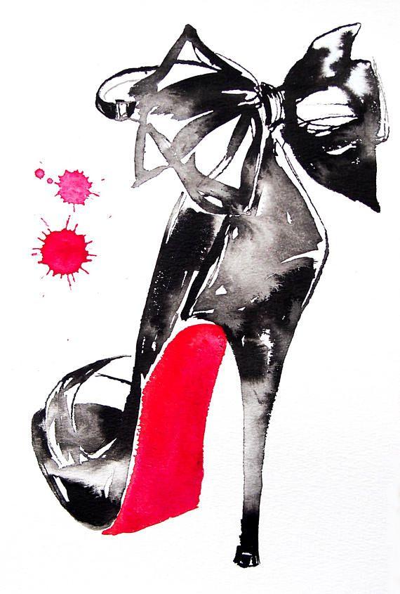 Preto Salto Alto Impressão Arte Aquarela Moda Ilustração Beleza Couro  – Art