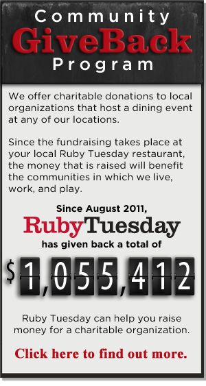 Ruby Tuesday Has Created A Community Give Back Program