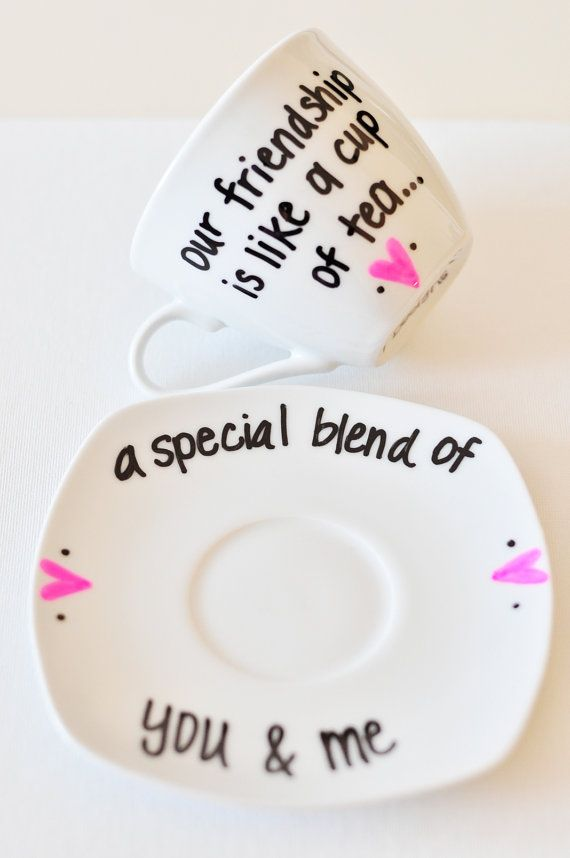 Friendship Tea Cup & Saucer Cute Saying by UmphreyDesigns