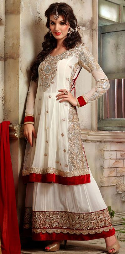 USD 83.09 White Georgette Indo Western Anarkali Suit 42514