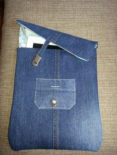 Eski kot pantolondan tablet kılıfı