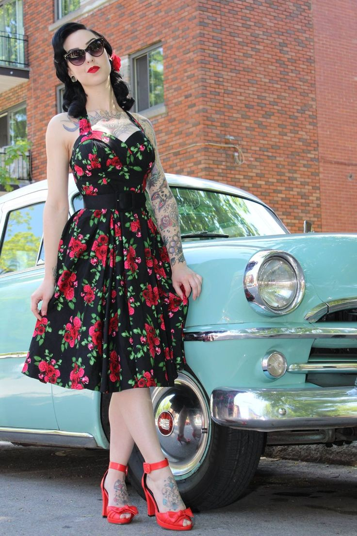Rockabilly halterneck cinched waist and circle skirt. The epitome of sexy, feminine class. GIB!