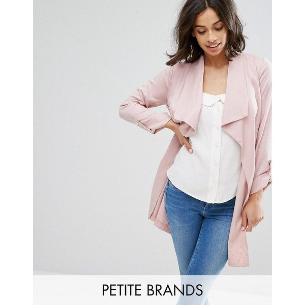 Miss Selfridge Petite Duster Coat ($97) ❤ liked on Polyvore featuring outerwear, coats, petite, pink, duster coat, petite duster coat, petite coats, pink duster coat and tall coats
