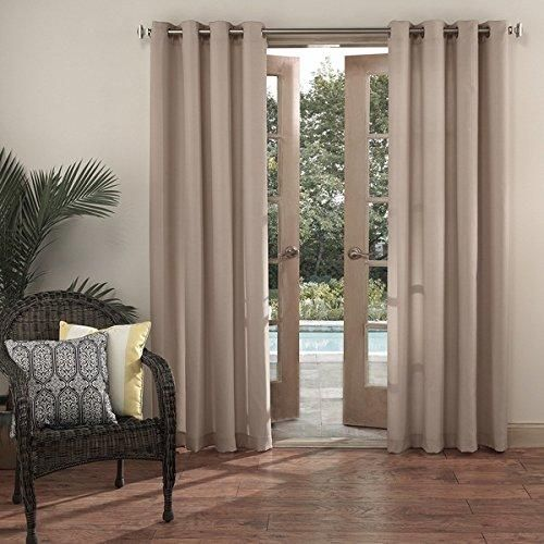 84 Inch Linen Color Gazebo Curtain Single Panel Creamy Off White Solid Color Pattern Rugby Colors Outside Outdoor Pergola Drapes Porch Deck Cabana
