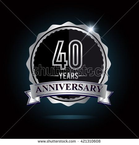 40th anniversary logo with ribbon. 40 years anniversary signs illustration. Silver anniversary logo with ribbon. - stock vector