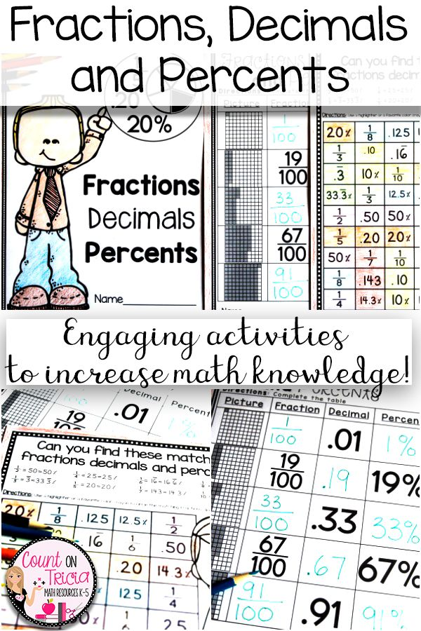 Converting Fractions Decimals And Percents Fractions Increase