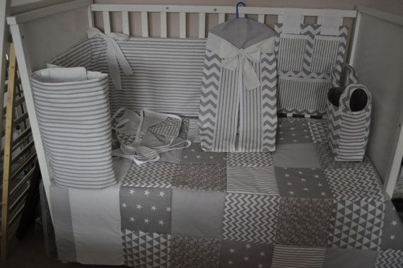 Grey Cot Bedding Grey & White Nursery by PrettyPatchworkPiece
