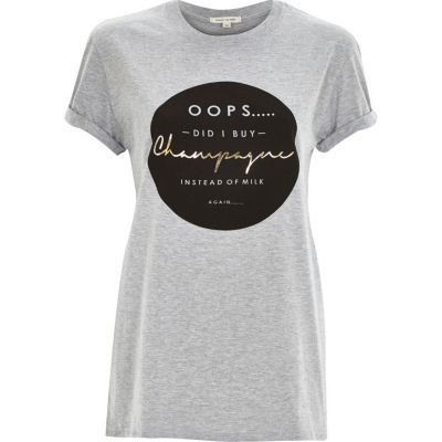 I'm shopping Grey oops champagne print oversized t-shirt in the River Island iPhone app.