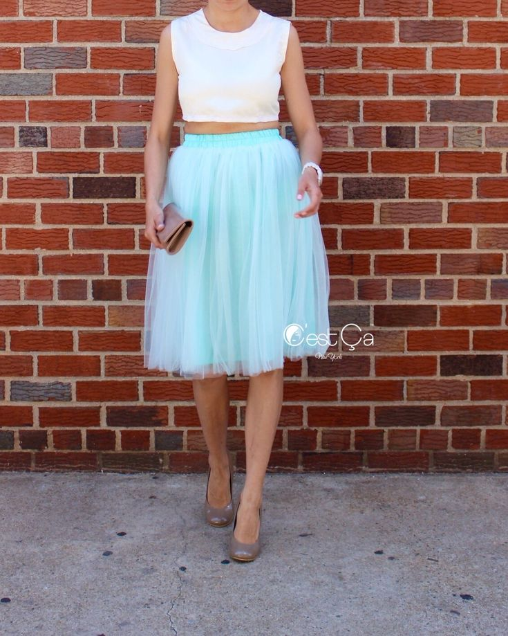 Claire Mint Green Soft Tulle Skirt - Below Knee Midi