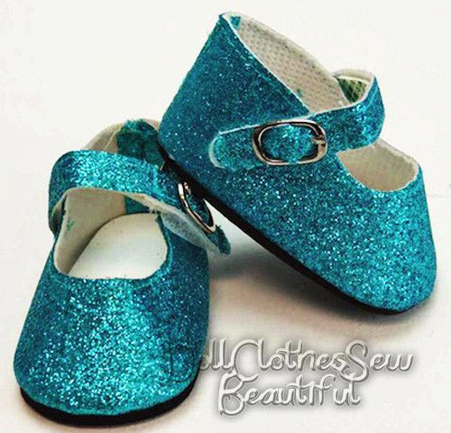 """Teal Blue Glitter Sparkle Shoes made for 18"""" American Girl Doll Clothes FROZEN   Dolls & Bears, Dolls, Clothes & Accessories   eBay!"""