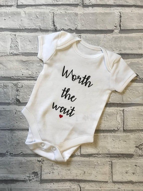 Worth the Wait Personalised Baby Vest Babygrow Bodysuit Baby Shower IVF Baby