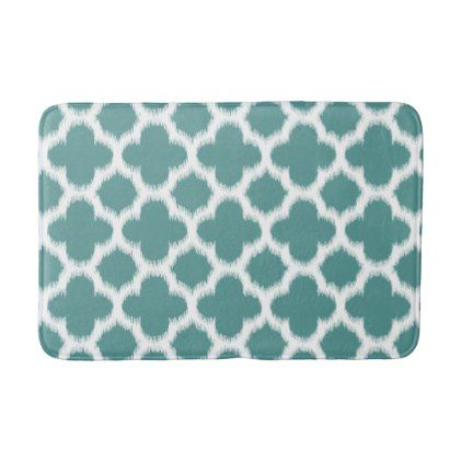 Cadet Blue Green White Ikat Quatrefoil Pattern Bathroom Mat - home gifts ideas decor special unique custom individual customized individualized