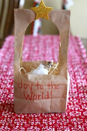 Paper Bag Manger Craft!  Such a simple activity for toddlers and preschoolers to celebrate the birth of Christ!