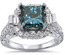 Unique Jewelry - Fashion Jewelry 925 Silver 1.7CT Princess Cut Blue Sapphire Wedding Ring Size8