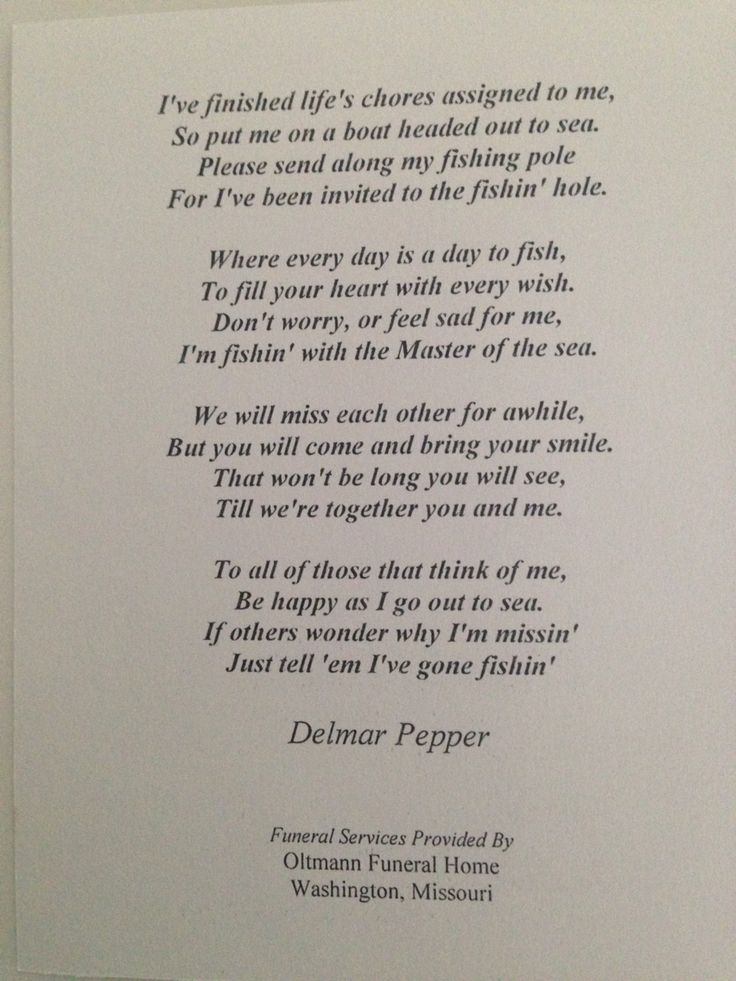 Funeral poem on fishing | Fishing Quotes | Pinterest ...